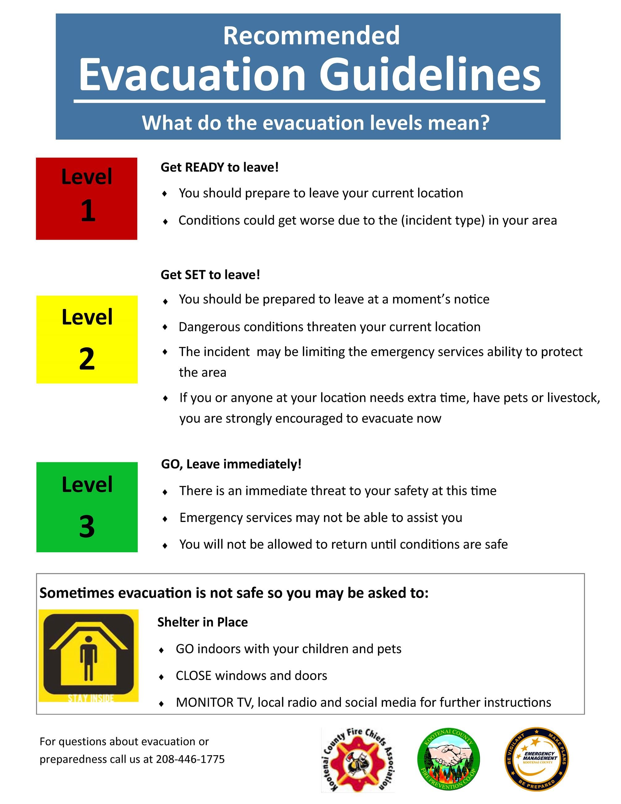 Recommended evacuation guidelines